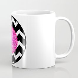 Bright pink design on black and white chevron pattern Coffee Mug