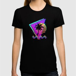 Vaporwave Palm Sunset 80s 90s Glitch Aesthetic T-shirt