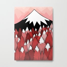 The Red forest under the mountain Metal Print