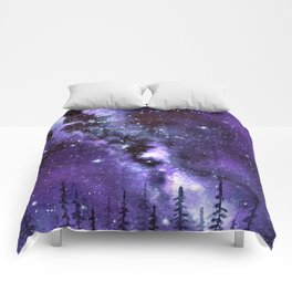 """Purple & Payne's Grey Milky Way Galaxy"" watercolor landscape painting Comforters"