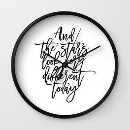 Song Lyrics,And The Stars Looks Very Different Today,Girls Room Decor,Printable Aleks Wall Clock