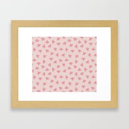 Crazy Happy Uterus in Pink, small repeat Framed Art Print