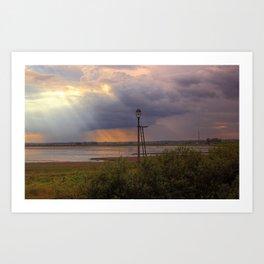 Sunset over the Norfolk Broads, UK Art Print