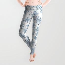Blue snowflakes pattern Leggings