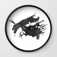 xenomorph Wall Clocks featuring The Queen Alien by DWatson