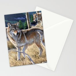 Wolf in winter forest Stationery Cards