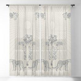 CHEETAH BLOOM Minimalist Modern and Vintage Illustration Design of a Cool Artsy Geometric Wildcat Floral Sun Sheer Curtain