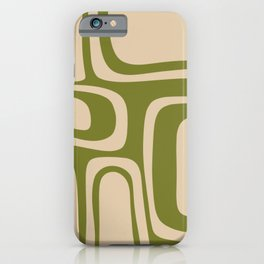 Palm Springs - Midcentury Modern Retro Pattern in Mid Mod Beige and Olive Green iPhone Case