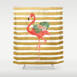 Flamingo Watercolor Art Golden Stripes Shower Curtain