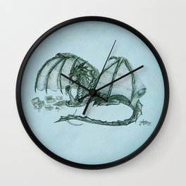 """Material Girl"" by Amber Marine ~ (Sea Mist Version) Graphite Dragon Illustration, (Copyright 2005) Wall Clock"