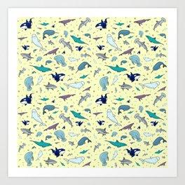 Ocean Life Pattern Art Print