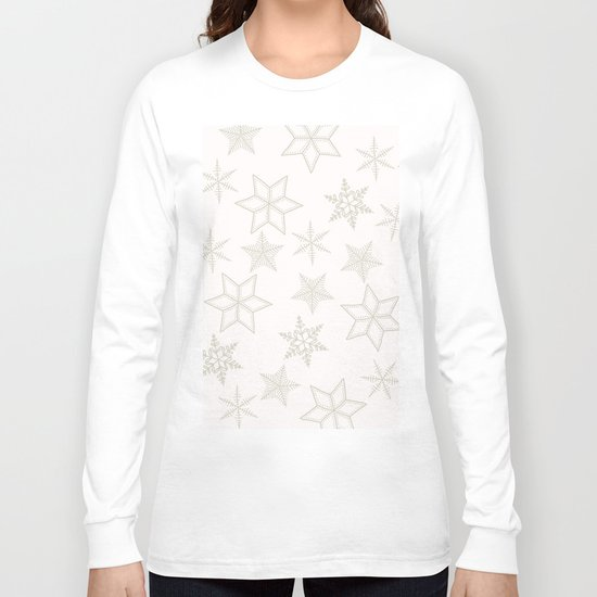 Beige Snowflakes on white background Long Sleeve T-shirt