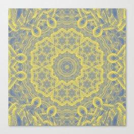 Dusty blue and yellow mandala Canvas Print