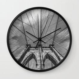 NEW YORK CITY Brooklyn Bridge in Detail | monochrome Wall Clock