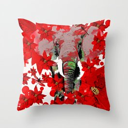 Elephant and Red Flowers Throw Pillow