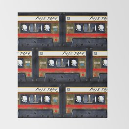 Retro classic vintage gold mix cassette tape Throw Blanket