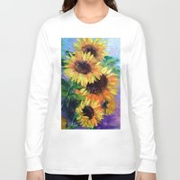 sunflowers Long Sleeve T-shirts featuring Sunflowers by OLHADARCHUK
