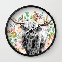 Cutest Highland Cow With Flowers Wall Clock