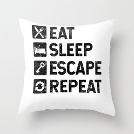 Eat Sleep Escape Repeat - Escape Room Game - Distressed design Throw Pillow