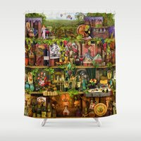 poetry Shower Curtains featuring The Poetry of Wine by Aimee Stewart
