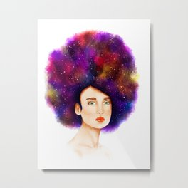 Beautiful woman with starry hair Metal Print