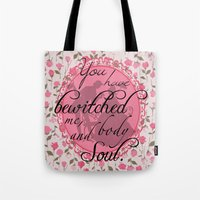 pride and prejudice Tote Bags featuring Pride & Prejudice Quote by Canis Picta