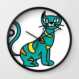 cat green Wall Clock