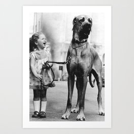 The Happiness of Little Girls and Great Danes black and white photograph Art Print