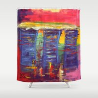 singapore Shower Curtains featuring Bayfront Singapore by Kasia Pawlak