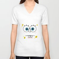 spongebob V-neck T-shirts featuring Spongebob Surprised Face by Cute Cute Cute