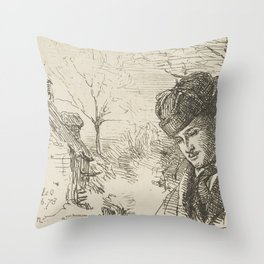 Half-length-of-a-man-in-a-landscape by George Manson Throw Pillow