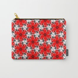 Red poppies floral geometric spring pattern Carry-All Pouch