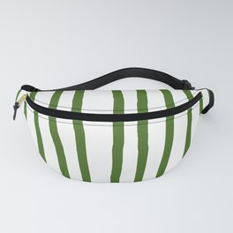 Simply Drawn Vertical Stripes in Jungle Green Fanny Pack