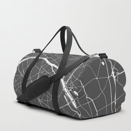 Paris France Minimal Street Map - Grey on White Duffle Bag