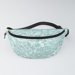 Teal and White Floral Garden Pattern Fanny Pack