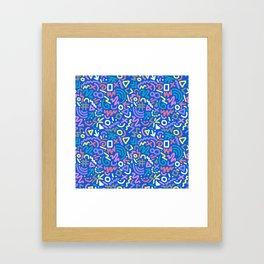 Bright Hand-Drawn 90s Pattern Framed Art Print