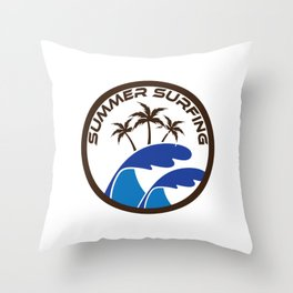 Fresh Hawaiian Style Tshirt Design Summer Surfing Throw Pillow