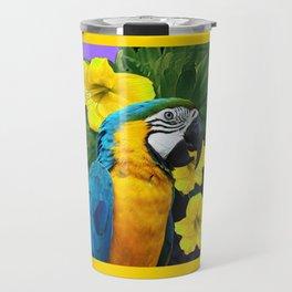 Tropical Blue & Gold Macaw Parrot Purple Art Travel Mug