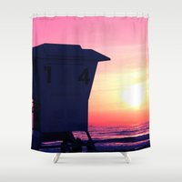 Mission Beach Sunset Shower Curtain