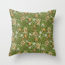 Birds in birdhouses with white apple blossom on brown background Throw Pillow