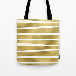 Simply Luxury Gold unequal glitter stripes on clear white - horizontal  pattern Tote Bag