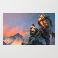 league of legends Area & Throw Rugs featuring League of Legends-Tryndamere and Ashe by RJ Palmer