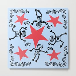 Dancing Robots Metal Print