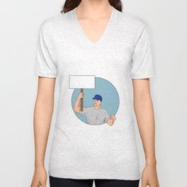 Industrial Worker Activist Placard Protesting Circle Drawing Unisex V-Neck