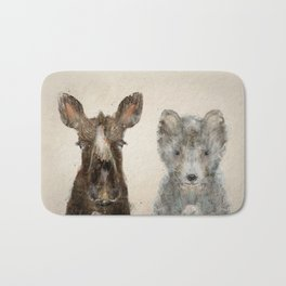 the little wolf and little moose Bath Mat