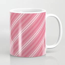 Soft Nantucket Red & White & White Diagonal Fade Stripes Coffee Mug