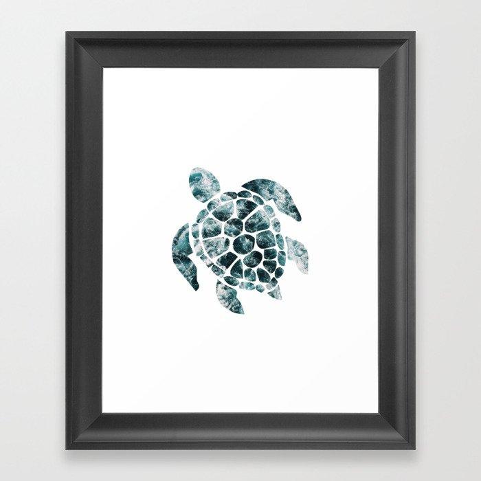 Sea Turtle - Turquoise Ocean Waves Gerahmter Kunstdruck