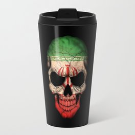 Dark Skull with Flag of Iran Travel Mug