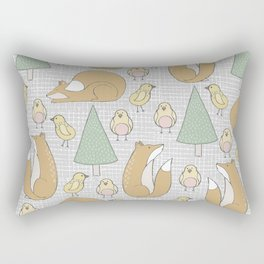 Adorable and Lovely Foxes and Chicks Pattern Rectangular Pillow