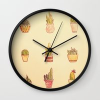 cacti Wall Clocks featuring Cacti by Samantha Crepeau